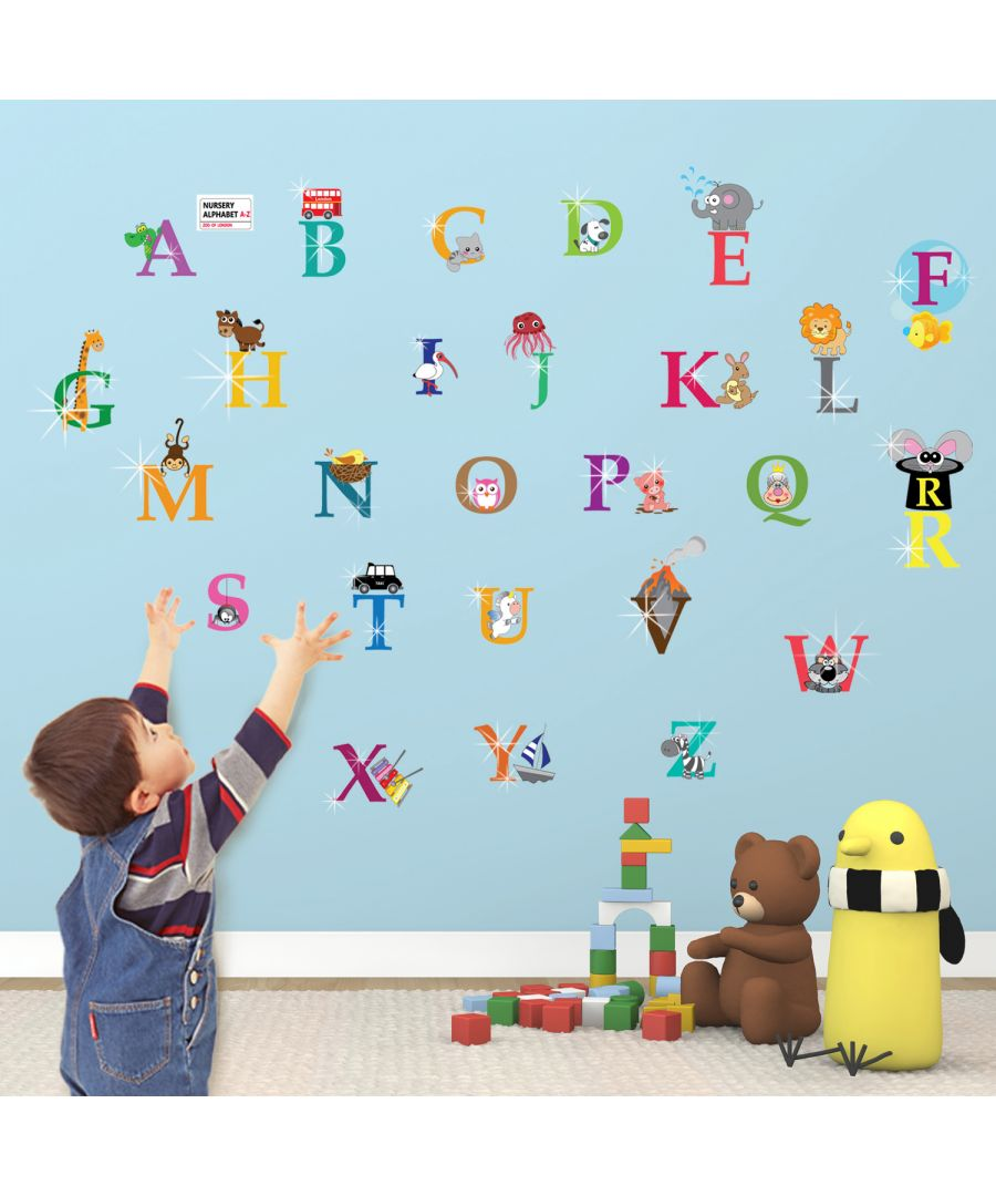 Image for Greer Alphabet and Swarovski 2.9mm Clear Crystals Wall Sticker