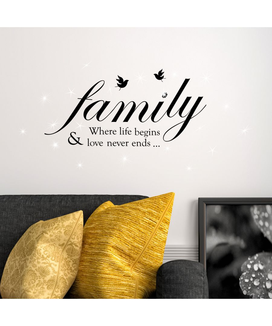 Image for Walplus Wall Sticker Decal Family Quote with Swarovski Crystals