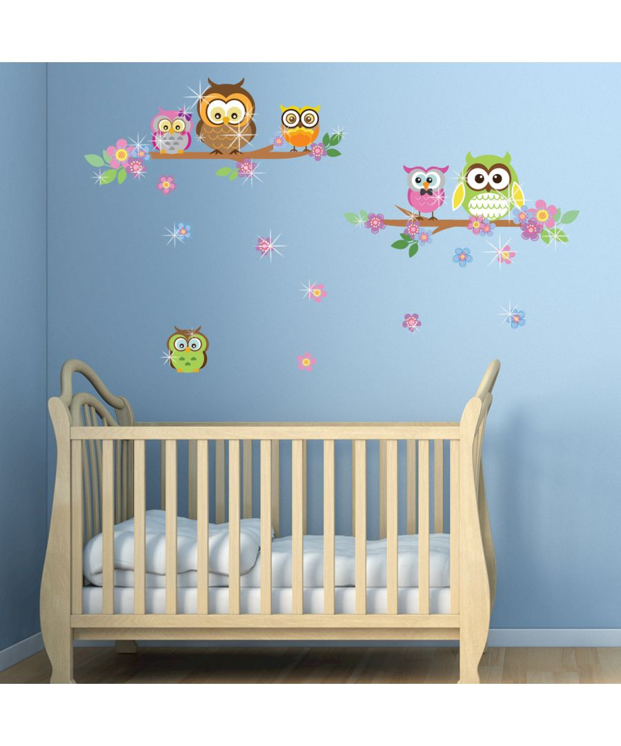 Image for Walplus Wall Sticker Owl Flower Tree with Swarovski Crystals