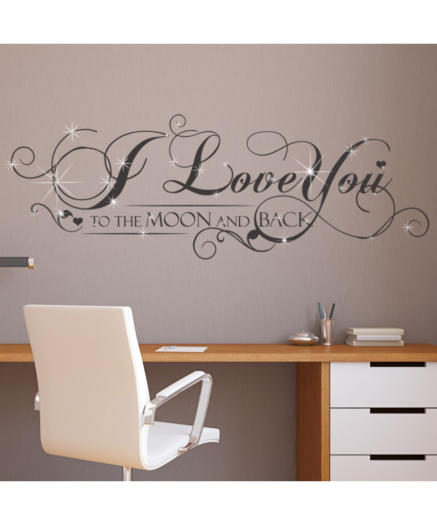 Image for Walplus Wall Sticker Decal Wall Art I Love You Quote with Swarovski Crystals