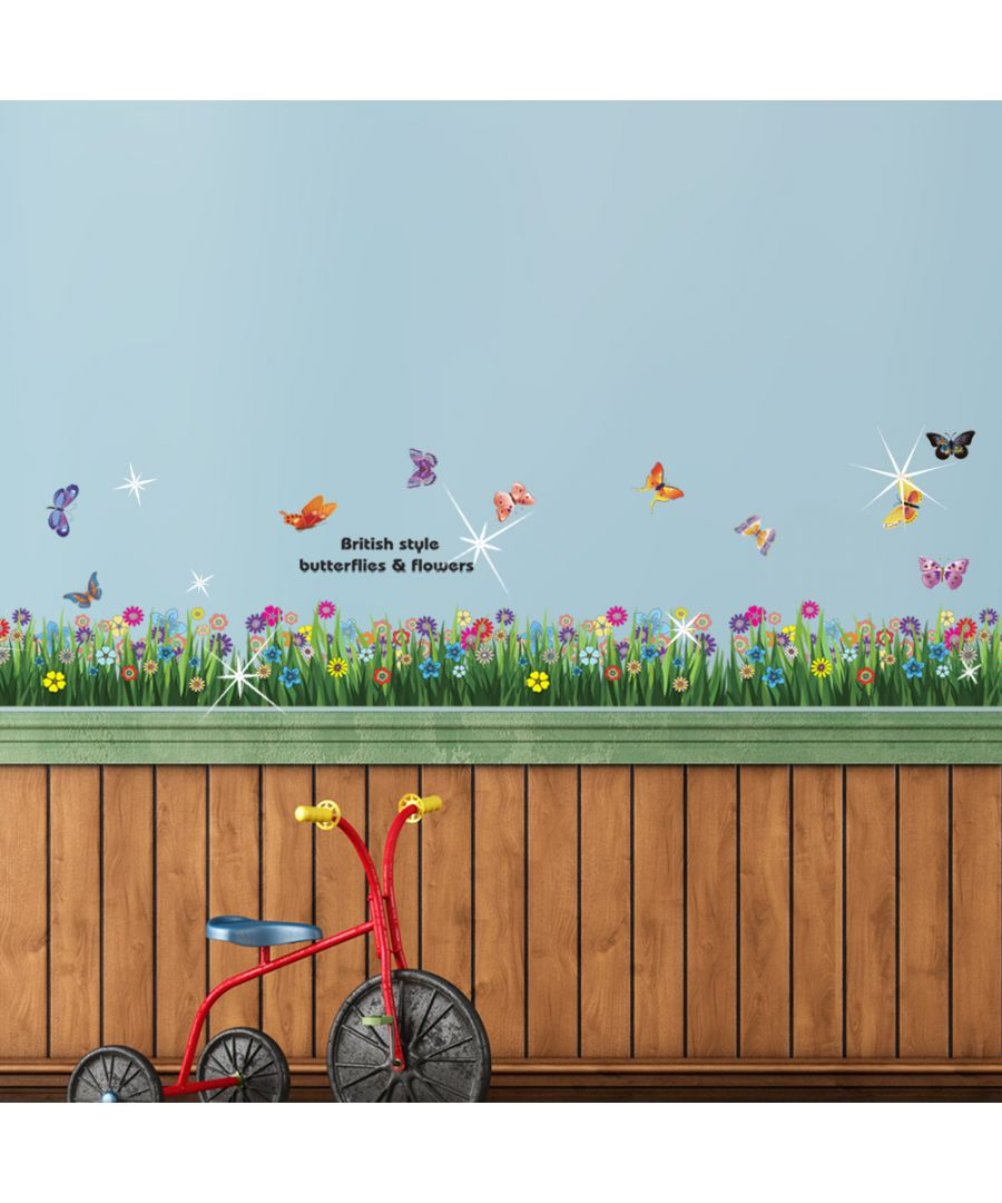 Image for Walplus Wall Sticker Butterfly Grass Skirting with Swarovski Crystals