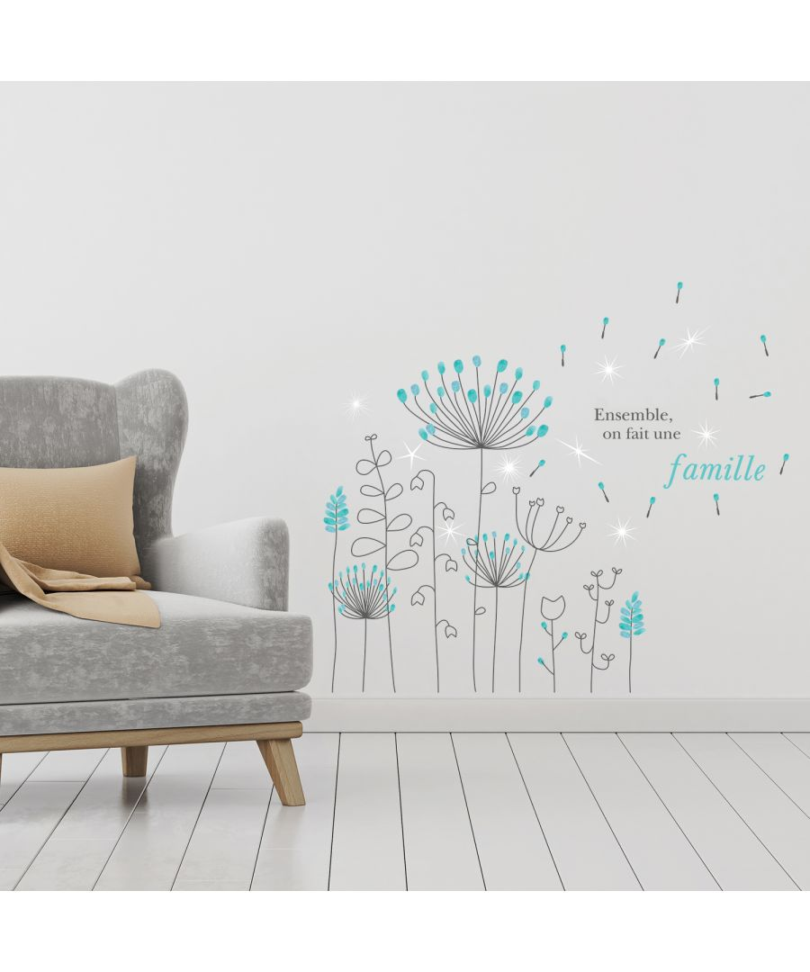 Image for French Quote Dandelion with Swarovski Crystals Wall Sticker