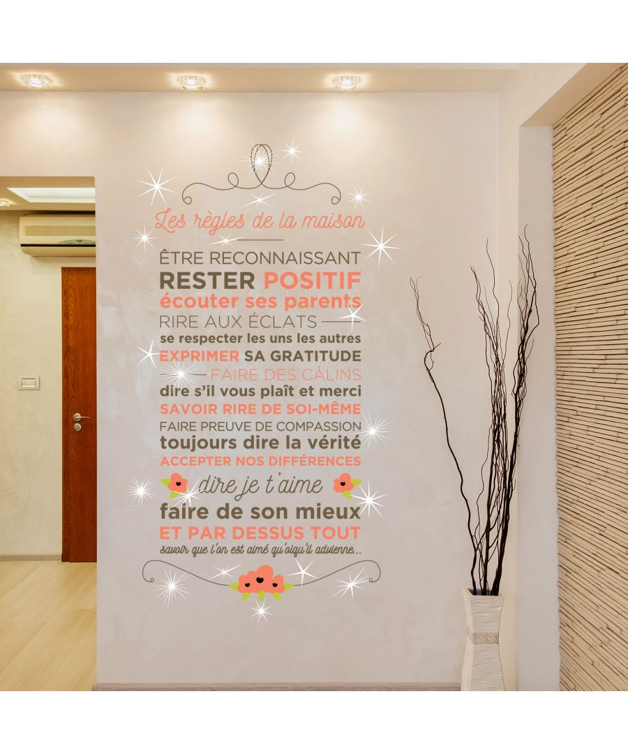 Image for Walplus French Floral Quote Wall Sticker Wall Decal Decoration with Swarovski Crystals