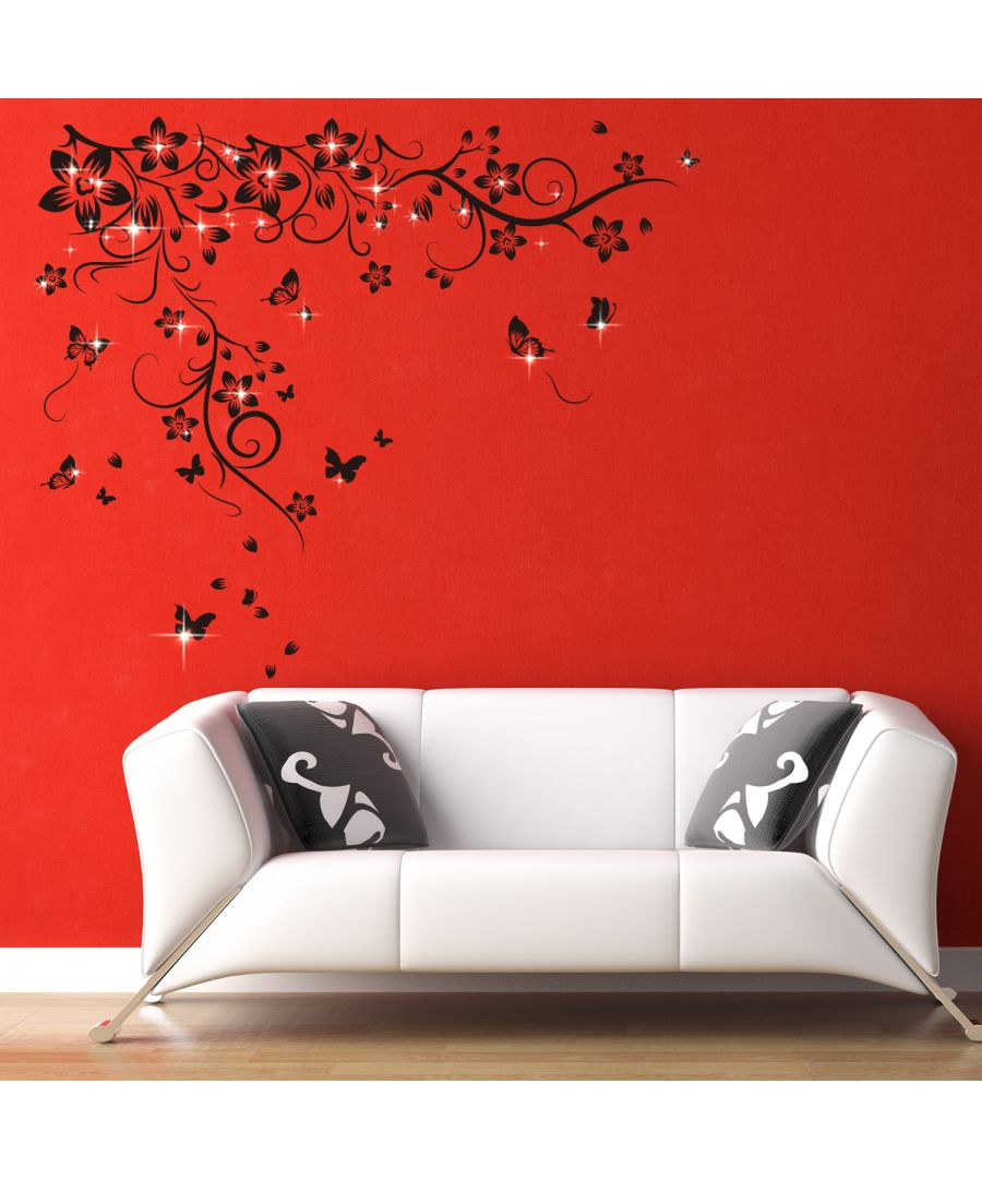 Image for Wall Sticker Black Butterfly Vine with Swarovski Crystals