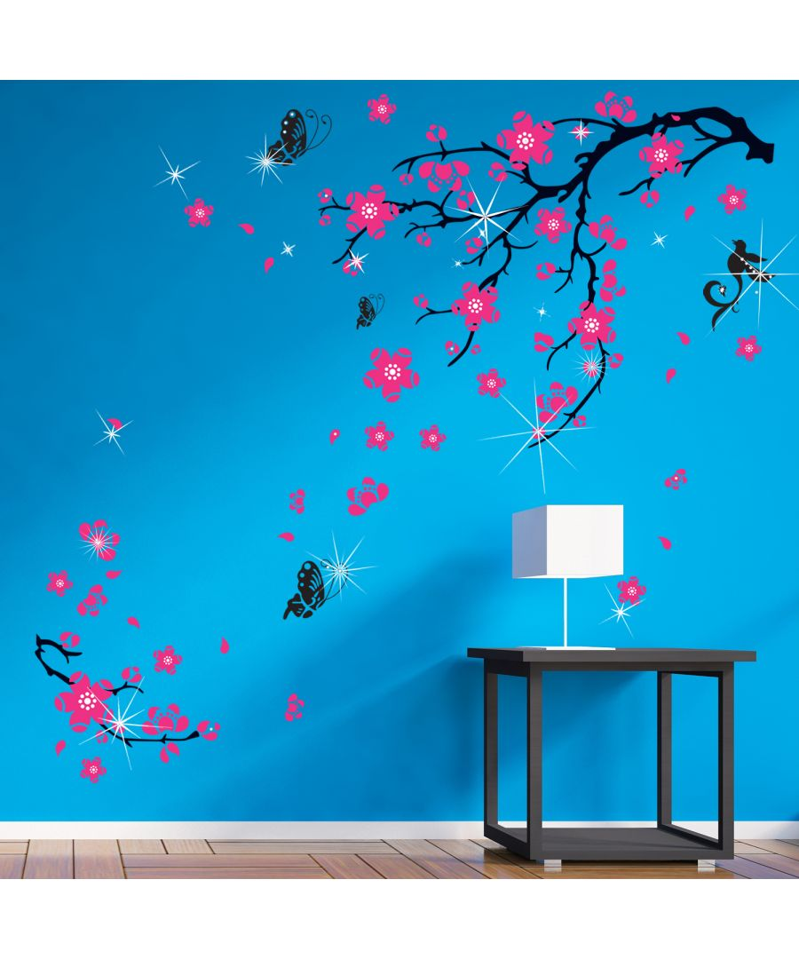 Image for Wall Sticker Decal Pink Blossom Flowers with  Swarovski Crystals