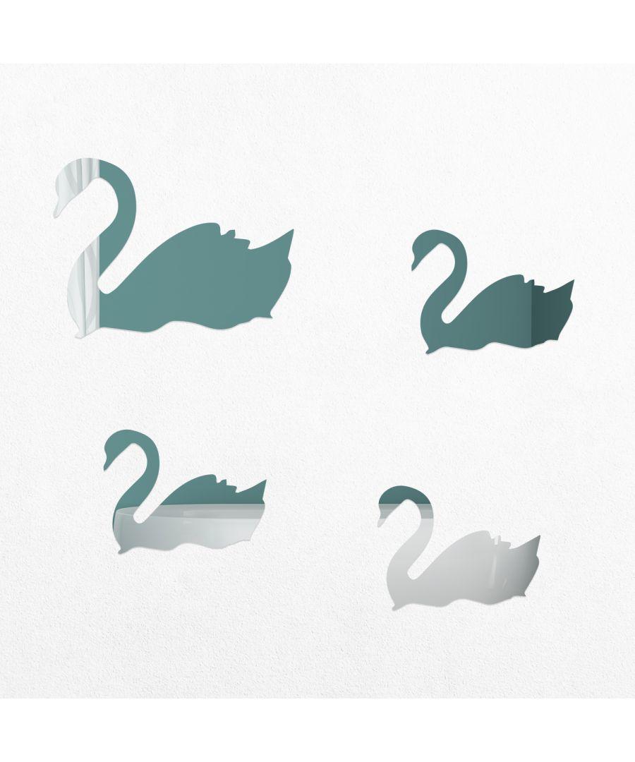 Image for WSM2030 - 4pcs/lot Romantic Simple Cute Swans Mirror Wall Art