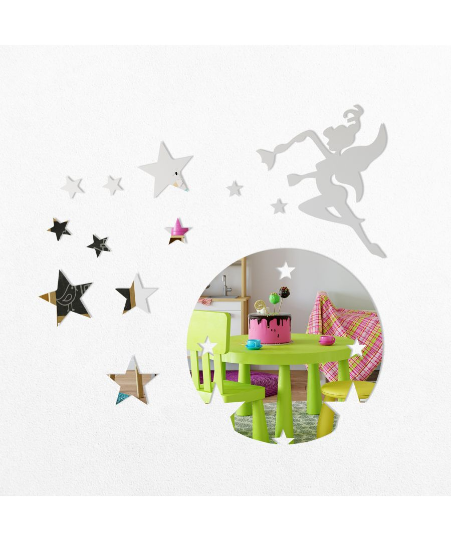 Image for WSM2038 - Flying Fairy Tinker Bell with Stars Round Mirror Wall Art
