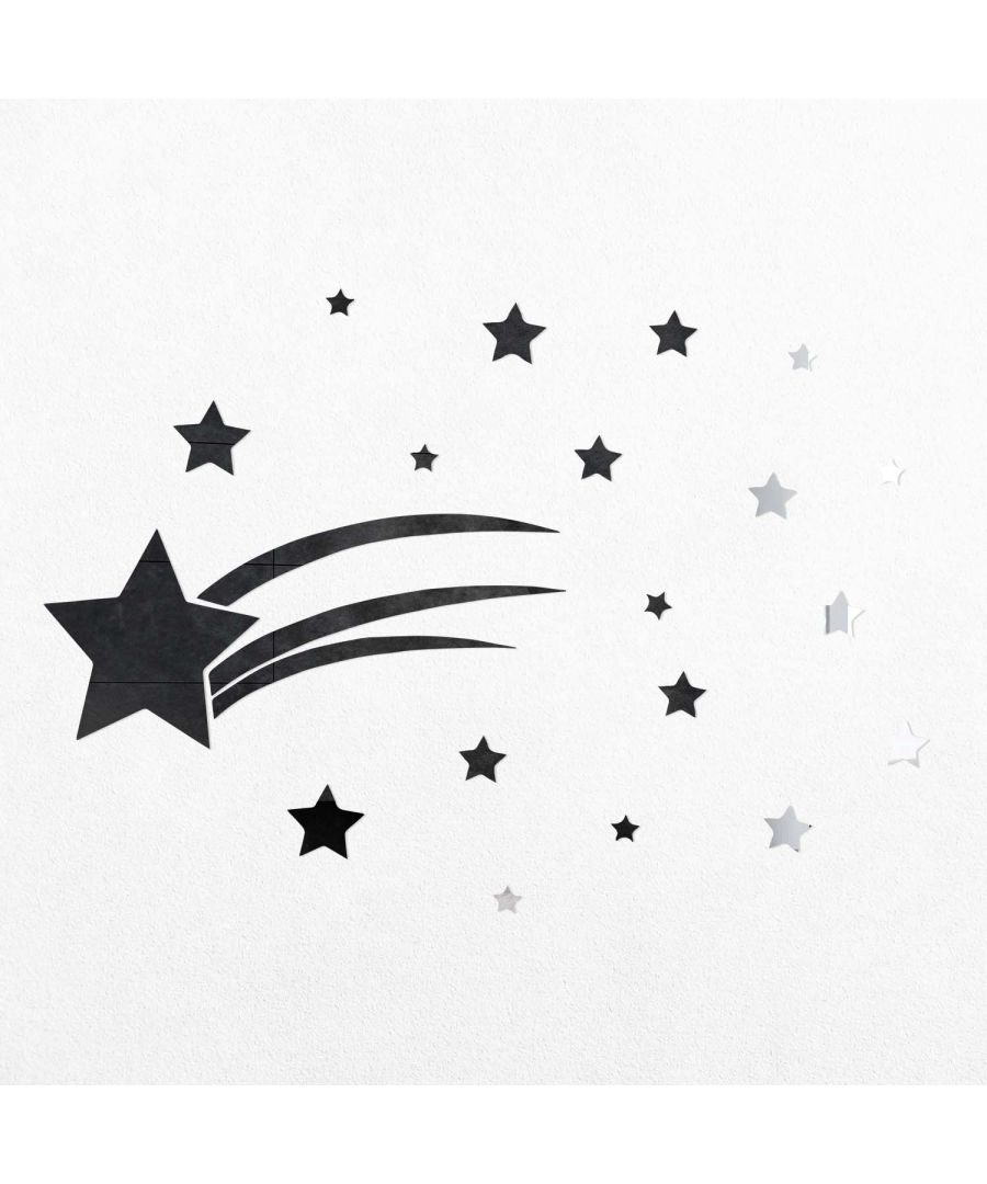Image for WSM2042 - Silver Stars 3D Crystal Mirror Wall Art