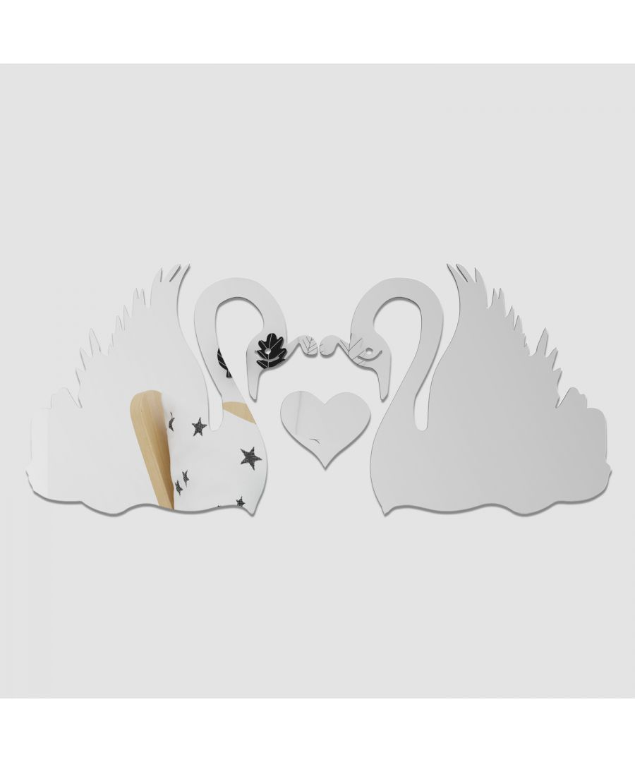 Image for WSM2050 - Romantic Swans Couple Lover Heart Mirror Wall Art