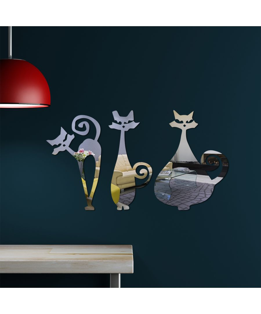 Image for WSM2059 - Catton 3pcs/lot Cats Mirror Wall Art