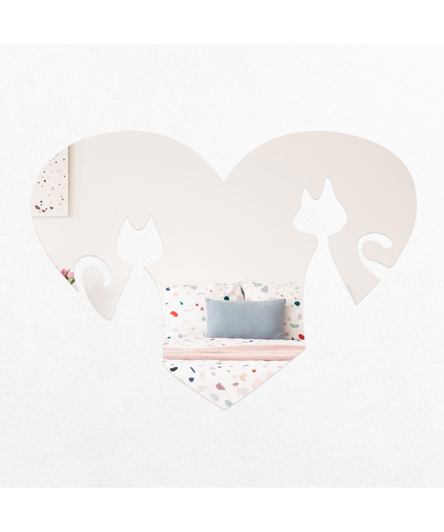 Image for WSM2062 - Heart Shape Cats Mirror Wall Art