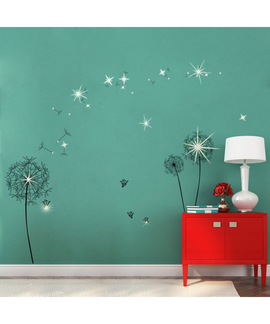 Image for Wall Sticker Huge Black Dandelion with Swarovski Crystals