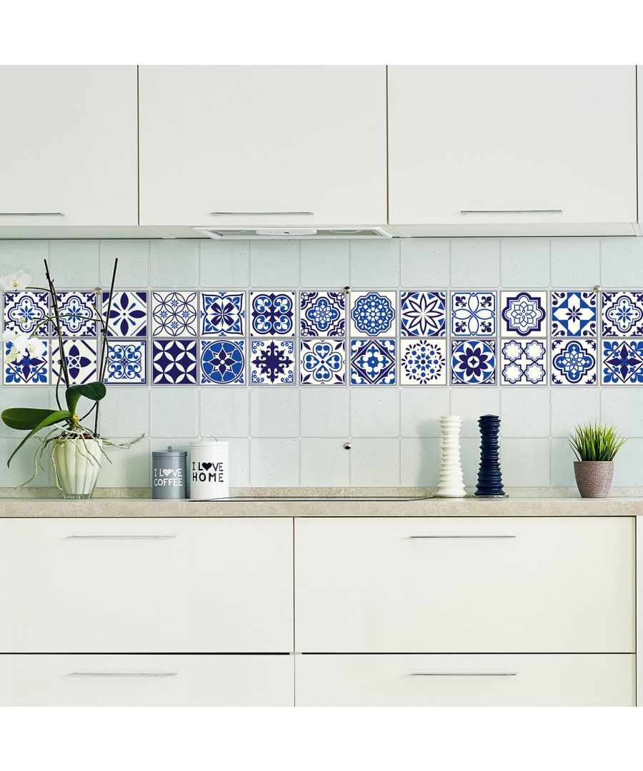 Image for WT1001 - Spanish and Moroccan Blue Tiles Wall Stickers Mix - 10 cm  x 10 cm - 24 pcs.