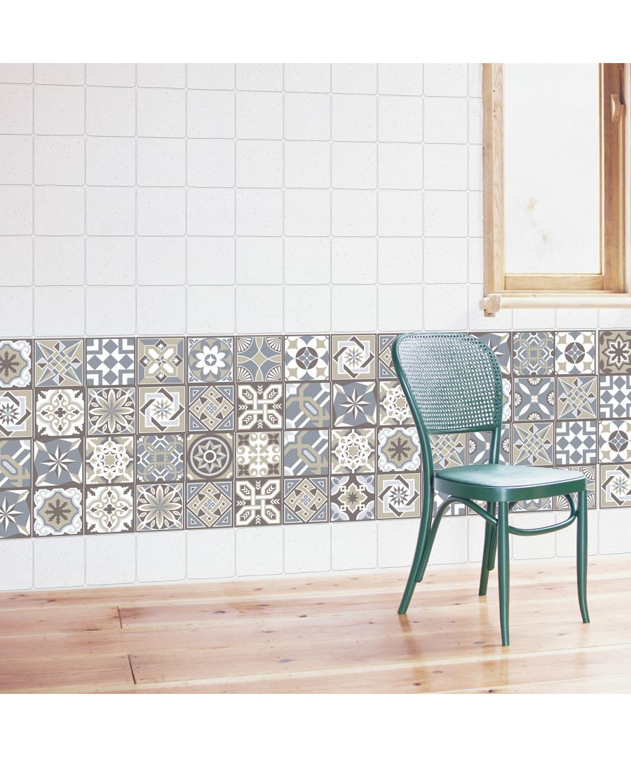Image for WT1002 - Limestone Spanish Tiles Wall Stickers - 10 cm x 10 cm - 24 pcs.