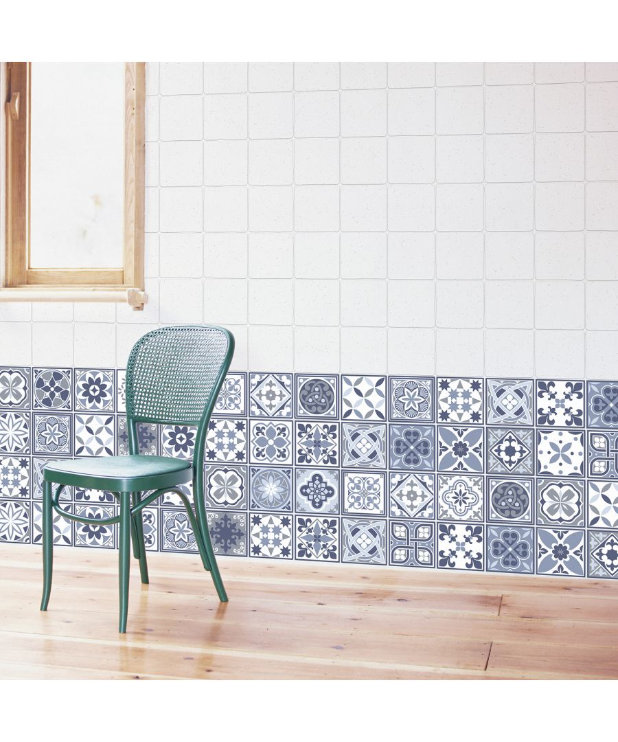 Image for WT1003 - Lisbon Blue Tiles Wall Stickers - 10 cm x 10 cm - 24 pcs.
