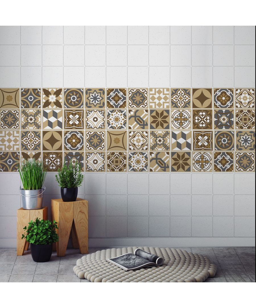 Image for WT1006 - Dark Bronze Tiles Wall Stickers - 10 cm x 10 cm - 24 pcs.
