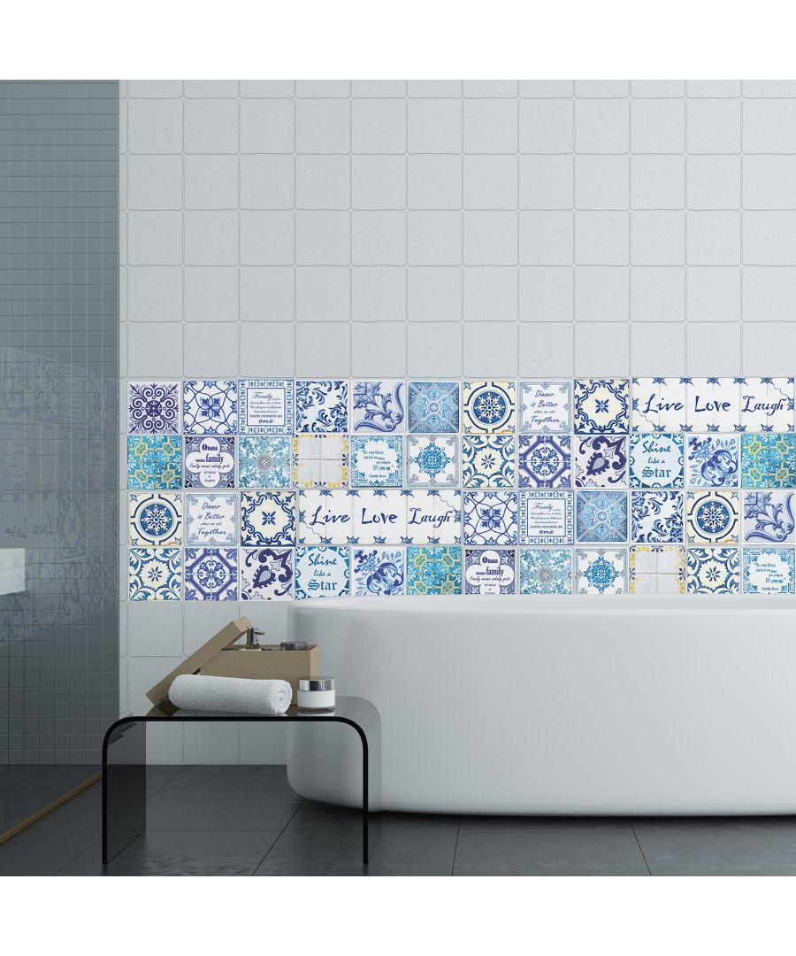 Image for WT1013 - English Quote Vintage Blue Tile Sticker - 10 cm x 10 cm - 24 pcs