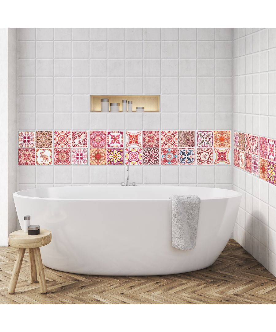 Image for WT1018 - Moroccan Rose Red Mosaic Tile Sticker - 10 cm x 10 cm - 24 pcs
