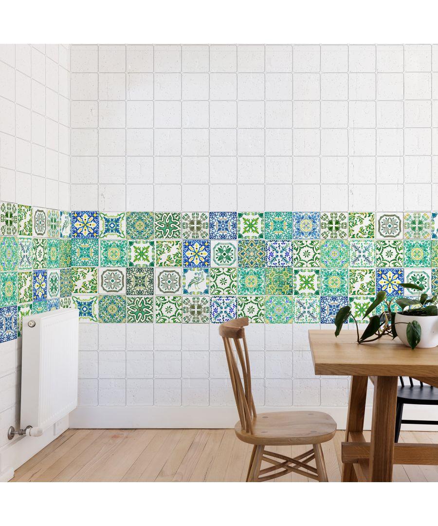 Image for WT1020 - Turkish Green Mosaic Tile Sticker - 10 cm x 10 cm - 24 pcs