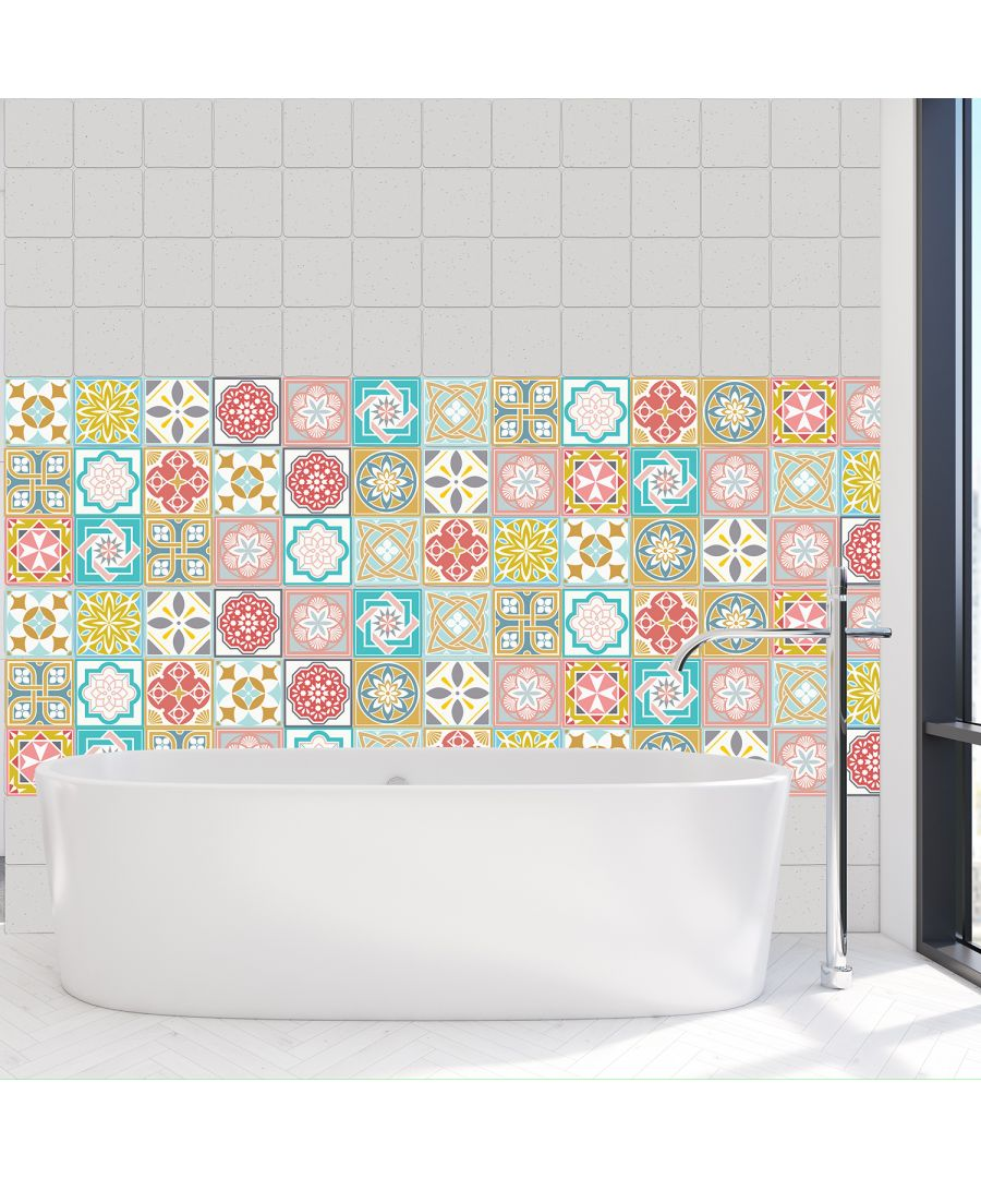 Image for WT1021 Malia Colourful Tiles Wall Stickers Mix - 10 cm x 10 cm - 24 pcs.