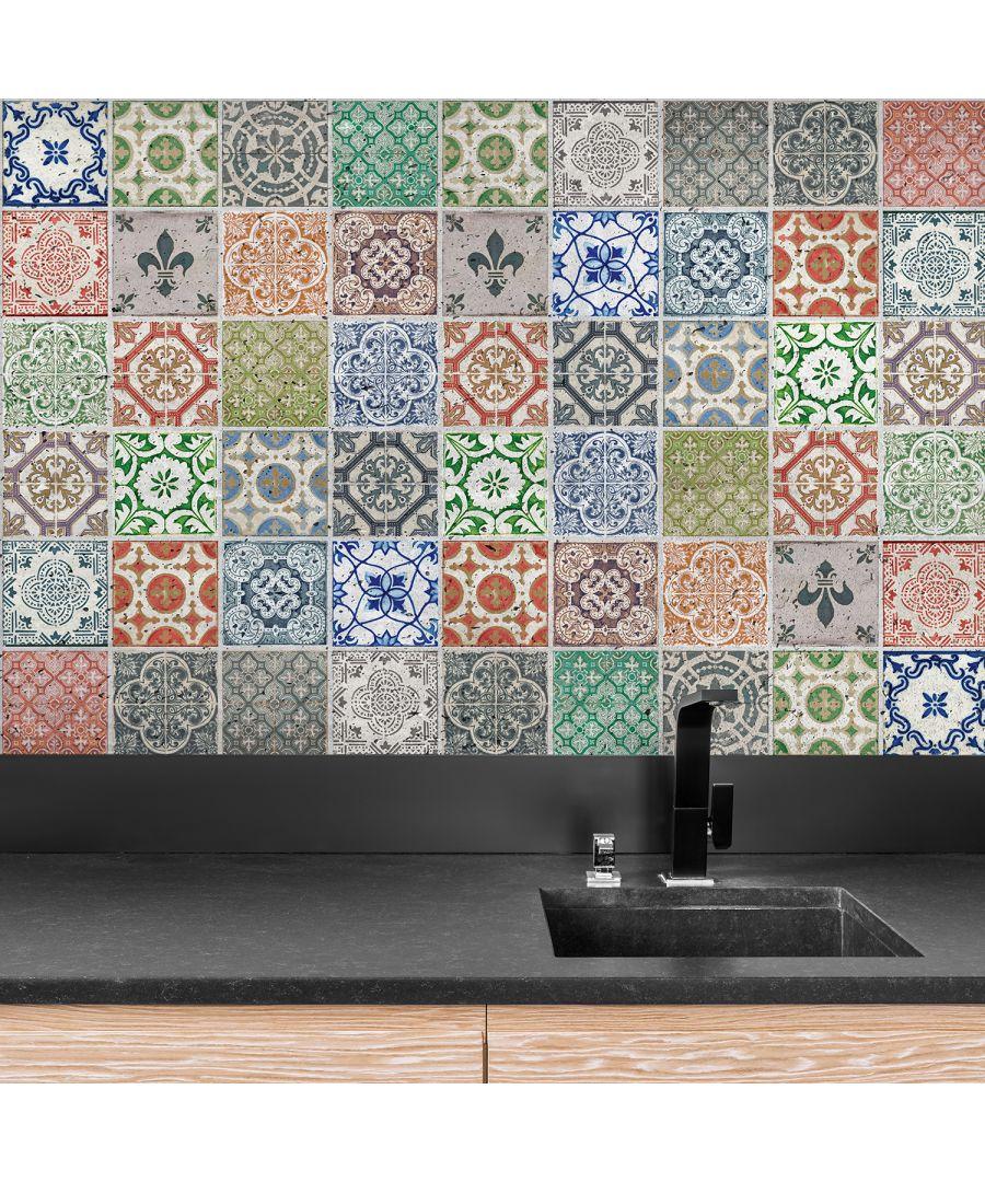 Image for WT1022 Vintage Porcelain Tiles Wall Stickers Mix - 10 cm x 10 cm - 24 pcs.