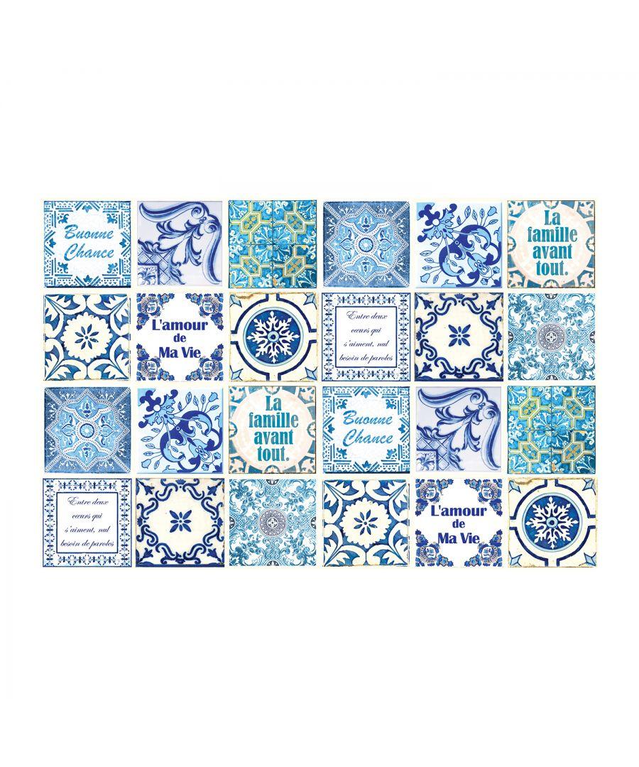 Image for WT1514 - French Quote Classic Blue Tile Sticker - 15 cm x 15 cm - 24 pcs