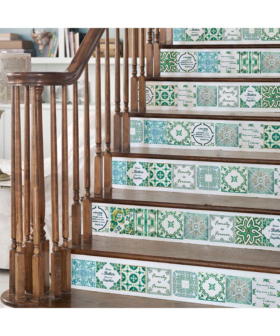 Image for WT1515 - English Quote Vintage Green Tile Sticker - 15 cm x 15 cm - 24 pcs