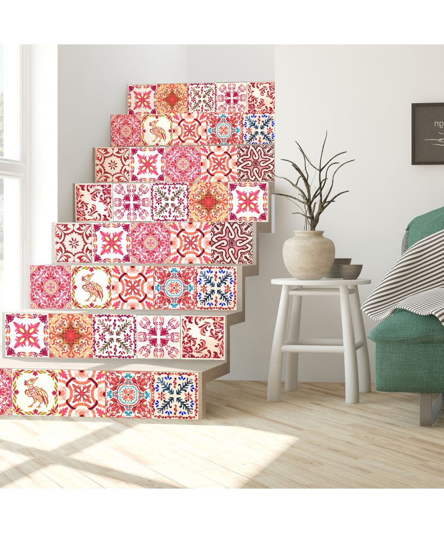 Image for Walplus Tile Sticker Moroccan Rose Red Mosaic Wall Sticker Decal (Size: 15cm x 15cm @ 24pcs)