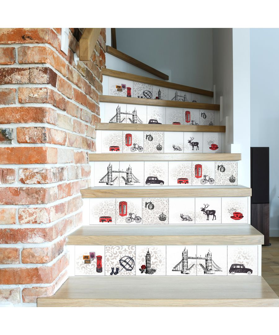 Image for 6 Londoner's Tiles Mix Wall Stickers - 15 cm x 15 cm - 24 pcs.