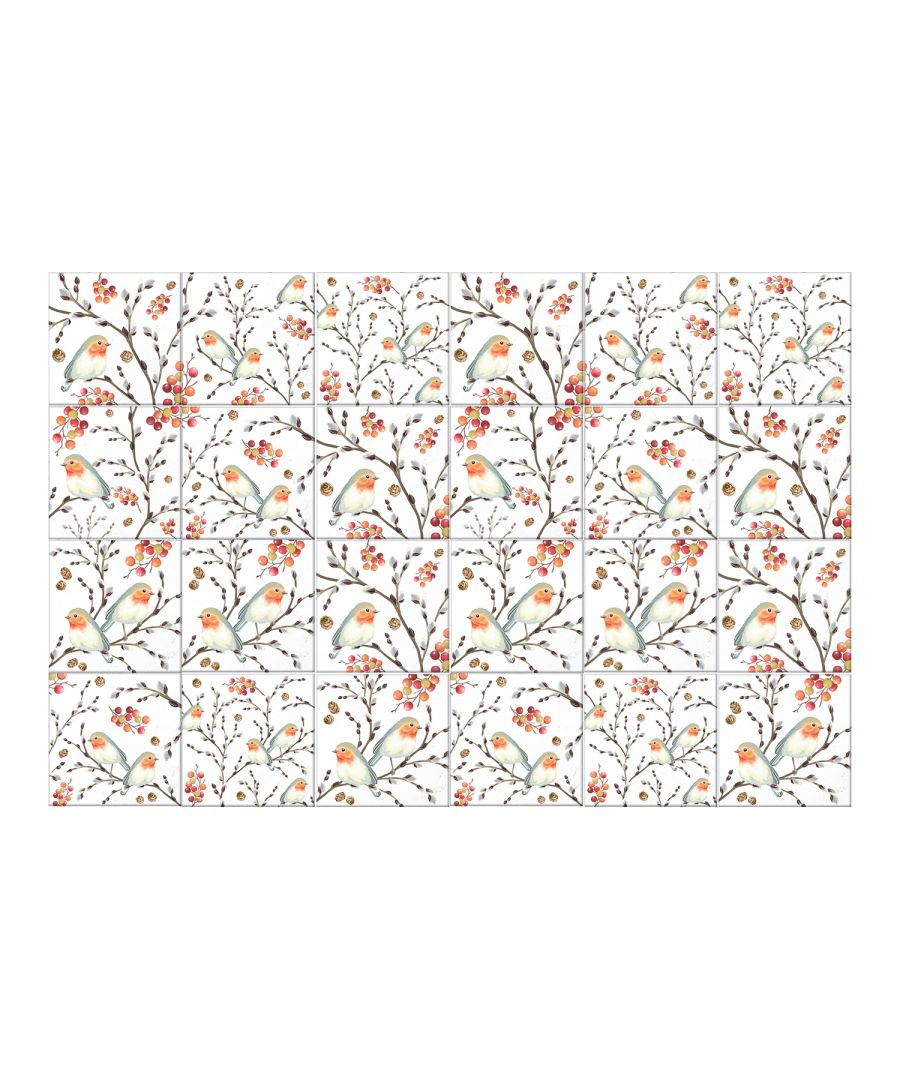 Image for 6 Ode To The Robin Redbreast Tiles Mix Wall Stickers - 15 cm x 15 cm - 24 pcs.