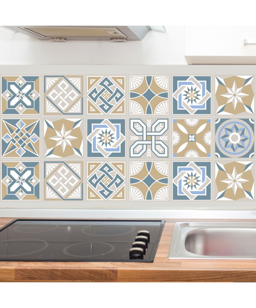 Image for Lyon Encaustic Tiles Wall Stickers - 15 cm x 15 cm - 24 pcs.
