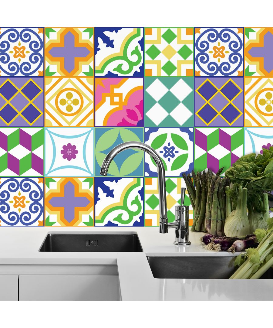 Image for Classic Spanish Colourful Mixed Tiles Wall Stickers Set 1 - 15 x 15 cm (6 x 6 inches) - 24 pcs. Wall Art, DIY Art, Home Decorations, Decals