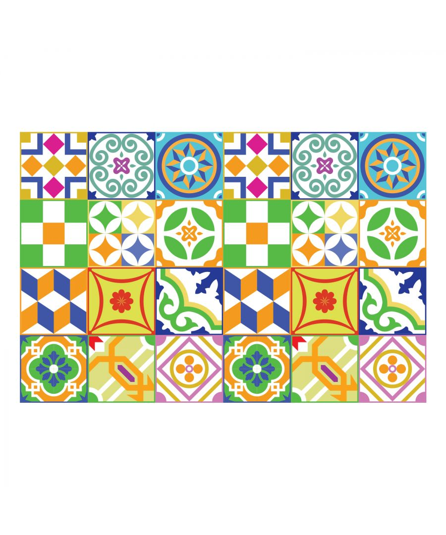 Image for Classic Spanish Colourful Mixed Tiles Wall Stickers Set 2 - 15 x 15 cm (6 x 6 inches) - 24 pcs. Wall Art, DIY Art, Home Decorations, Decals