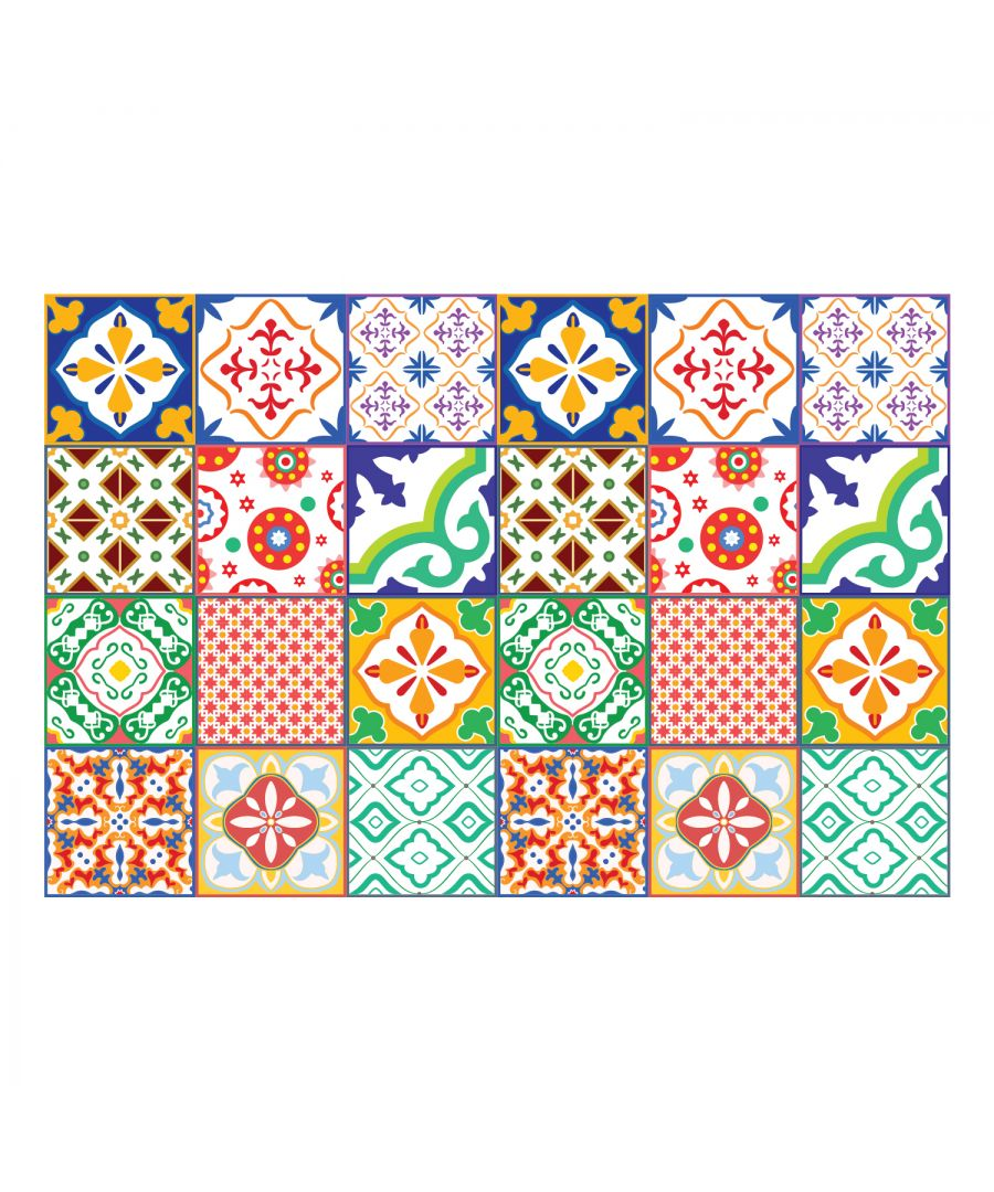 Image for Classic Mediterranean Colourful Mixed Tiles Wall Stickers Set 1 - 15 x 15 cm (6 x 6 inches) - 24 pcs. Wall Art, DIY Art, Home Decorations, Decals