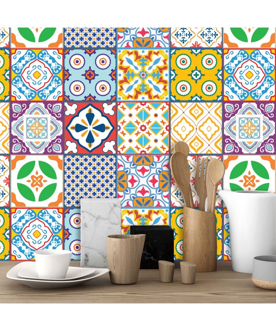 Image for Classic Mediterranean Colourful Mixed Tiles Wall Stickers Set 2 - 15 x 15 cm (6 x 6 inches) - 24 pcs. Wall Art, DIY Art, Home Decorations, Decals