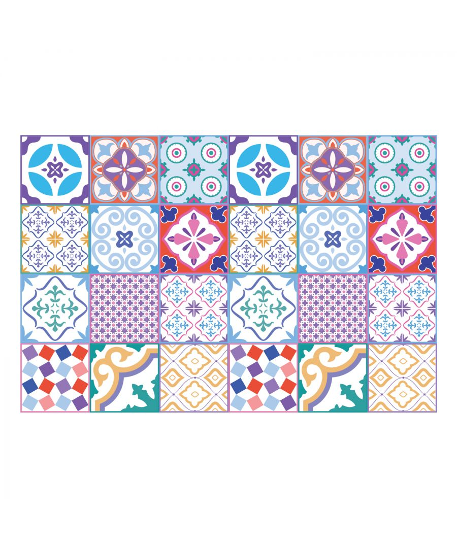 Image for Classic Moroccan Colourful Mixed Tiles Wall Stickers Set 1 - 15 x 15 cm (6 x 6 inches) - 24 pcs. Wall Art, DIY Art, Home Decorations, Decals