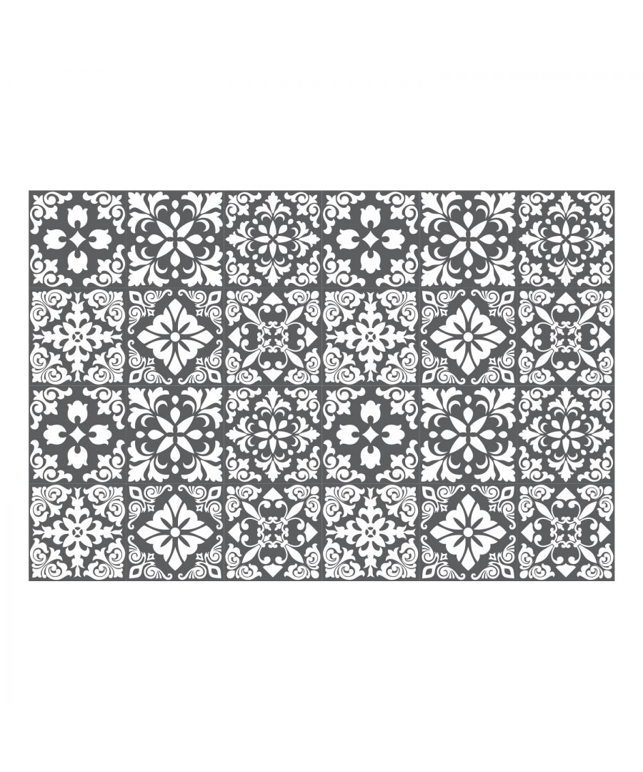 Image for Dark Grey Spanish Renaissance Tiles Wall Stickers - 15 x 15 cm (6 x 6 inches) - 24 pcs Wall Art, DIY Art, Home Decorations, Decals