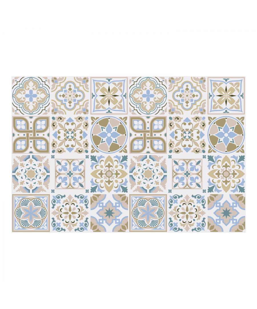 Image for Light Sapphire and Parchment colour Traditional Spanish Tiles Wall Stickers - 15 x 15 cm (6 x 6 inches) - 24 pcs Wall Art, DIY Art, Home Decorations, Decals