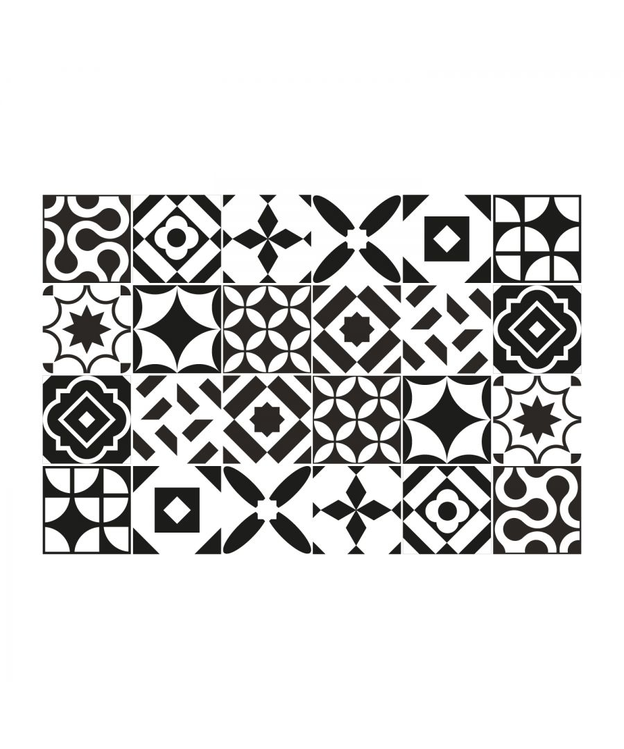 Image for Ross Black and White Wall Tile Sticker Set - 15 x 15 cm (6 x 6 in) - 24 pcs, DIY Art, Home Decorations, Decals, Kitchen Decor, Bathroom Ideas