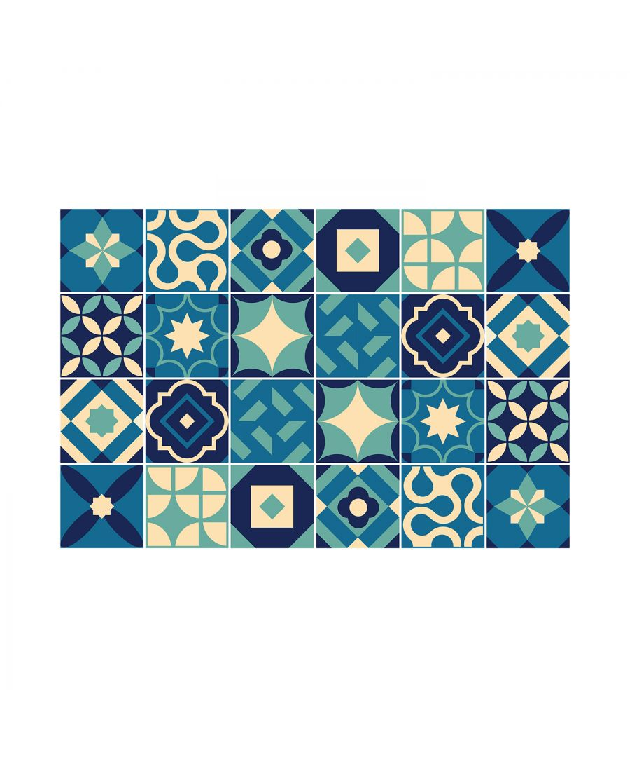 Image for Debbie Blue and Beige Wall Tile Sticker Set - 15 x 15 cm (6 x 6 in) - 24 pcs, DIY Art, Home Decorations, Decals, Kitchen Decor, Bathroom Ideas