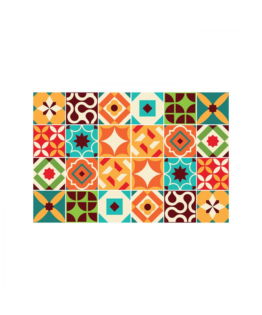 Image for Ziggy Colourful Retro Wall Tile Sticker Set - 15 x 15 cm (6 x 6 in) - 24 pcs, DIY Art, Home Decorations, Decals, Kitchen Decor, Bathroom Ideas