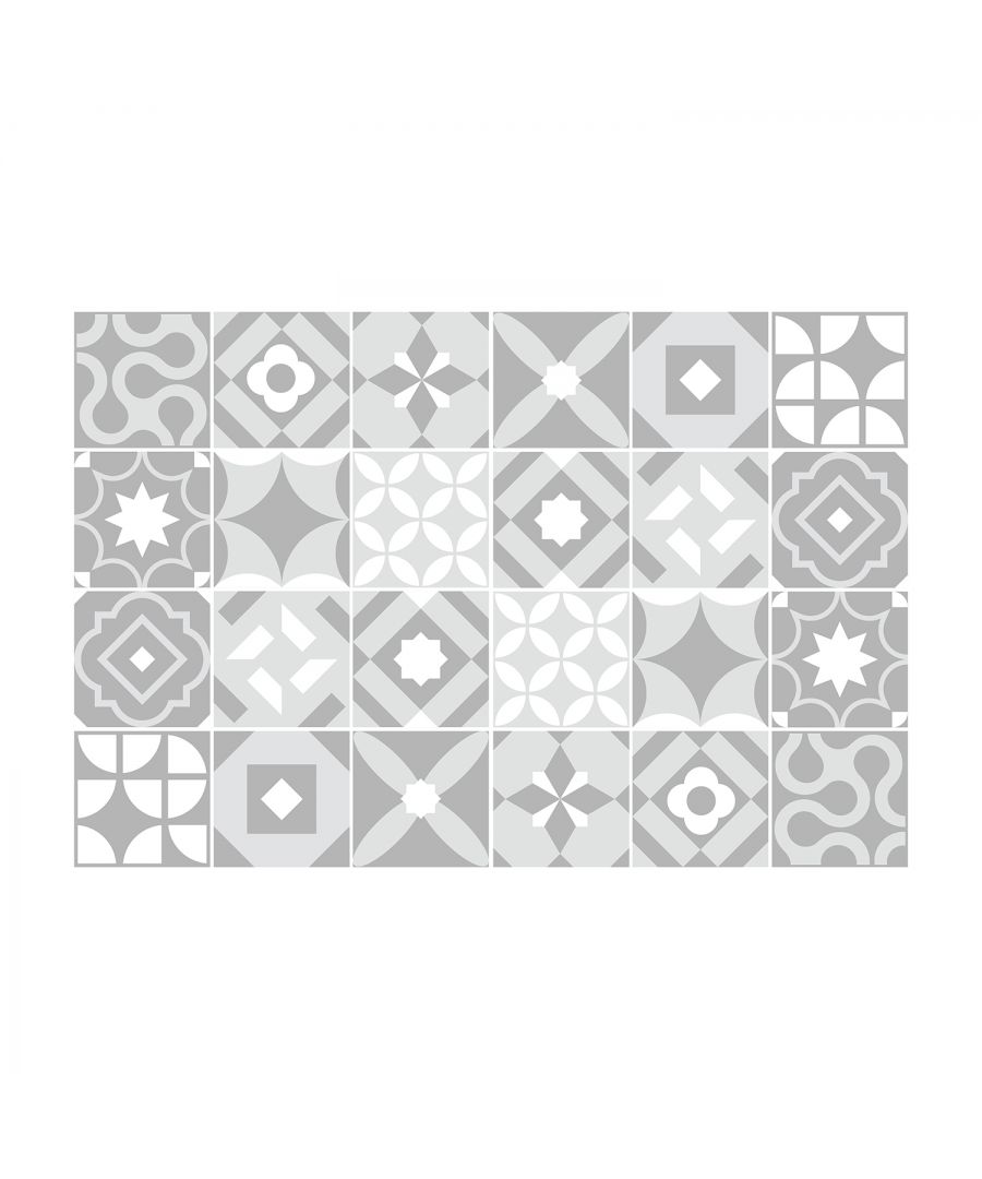 Image for Campbell Cement Light Grey Retro Tile Sticker Set - 15 x 15 cm (6 x 6 in) - 24 pcs, DIY Art, Home Decorations, Decals, Kitchen Decor, Bathroom Ideas