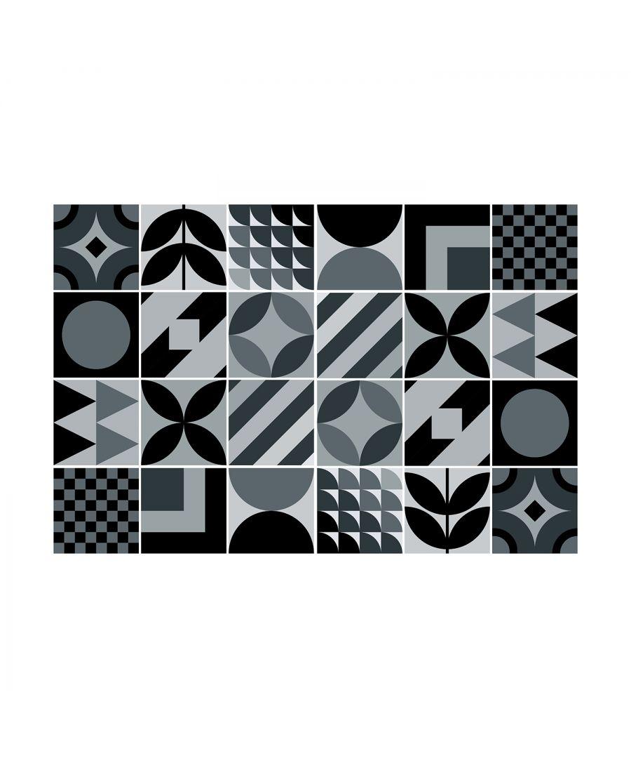 Image for LaBelle Black and Dar Grey Geometric Tile Sticker Set - 15 x 15 cm (6 x 6 in) - 24 pcs, DIY Art, Home Decorations, Decals, Kitchen Decor, Bathroom Ideas