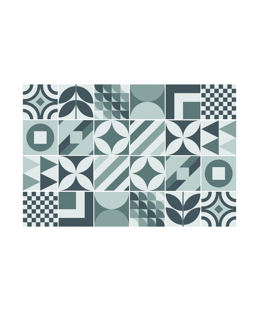 Image for Melvin Blue Grey Geometric Retro Tile Sticker Set - 15 x 15 cm (6 x 6 in) - 24 pcs, DIY Art, Home Decorations, Decals, Kitchen Decor, Bathroom Ideas