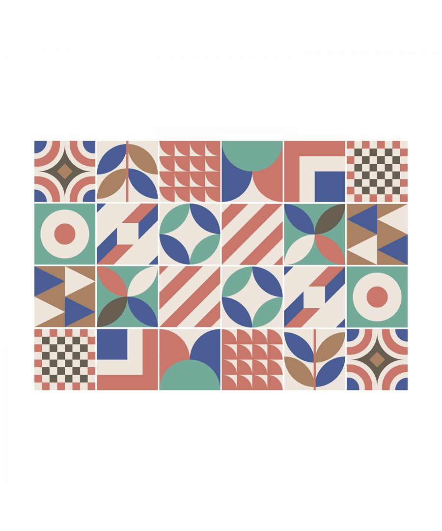 Image for Donna Pink and Blue Geometric Retro Tile Sticker Set - 15 x 15 cm (6 x 6 in) - 24 pcs, DIY Art, Home Decorations, Decals, Kitchen Decor, Bathroom Ideas