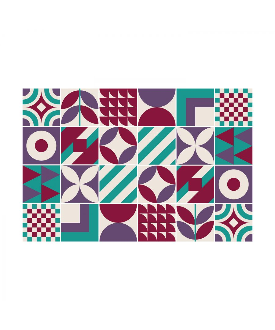 Image for Barbra Turquoise and Burgundy Geometric Retro Tile Sticker Set - 15 x 15 cm (6 x 6 in) - 24 pcs, DIY Art, Home Decorations, Decals, Kitchen Decor, Bathroom Ideas