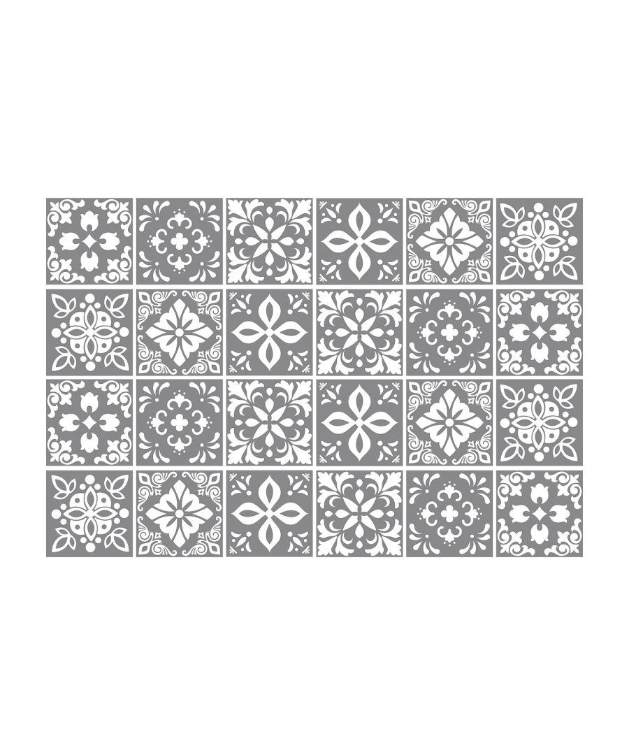 Image for Banús Dark Grey Cement Spanish Wall Tile Sticker Set - 15 x 15 cm (6 x 6 in) - 24 pcs, DIY Art, Home Decorations, Decals, Kitchen Decor, Bathroom Ideas