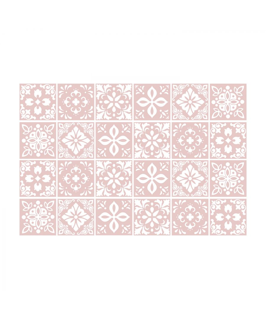 Image for Sevilla Ligh Pink Spanish Wall Tile Sticker Set - 15 x 15 cm (6 x 6 in) - 24 pcs, DIY Art, Home Decorations, Decals, Kitchen Decor, Bathroom Ideas