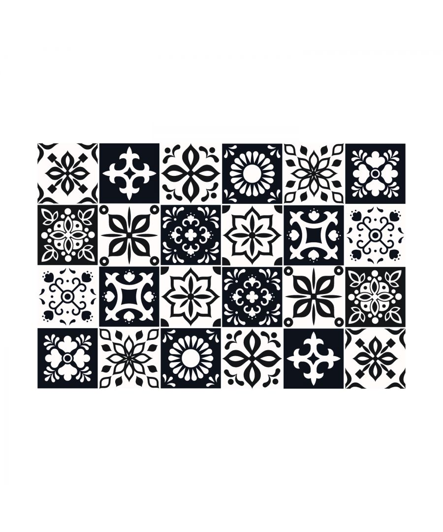 Image for Marjorelle Black and White Moroccan Wall Tile Sticker Set - 15 x 15 cm (6 x 6 in) - 24 pcs, DIY Art, Home Decorations, Decals, Kitchen Decor, Bathroom Ideas