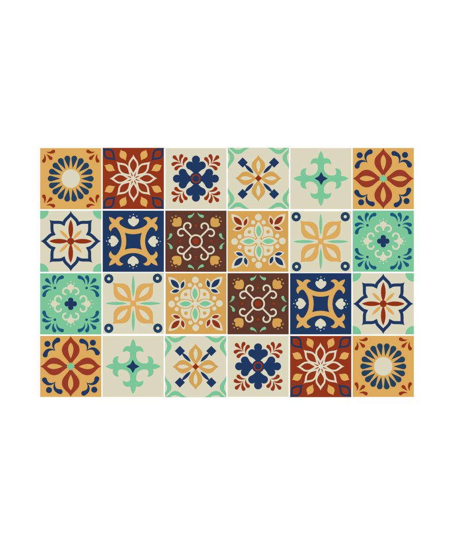 Image for Jama Brown and Blue Moroccan Wall Tile Sticker Set - 15 x 15 cm (6 x 6 in) - 24 pcs, DIY Art, Home Decorations, Decals, Kitchen Decor, Bathroom Ideas